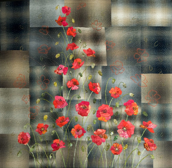 Poppies on the brick